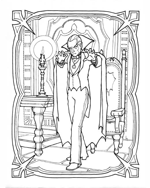 Vampire for Dracula coloring pages