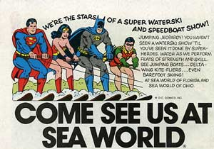 vintage ad for the seaworld dc heroes waterski show