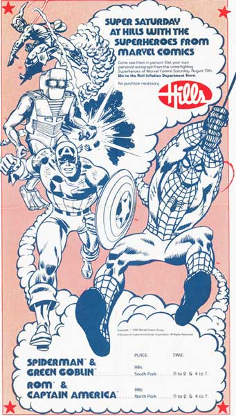 Hill's flyer for Spider-Man Appearance