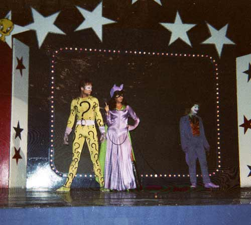 Riddler, Joker and CatWoman on stage